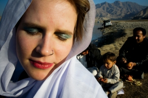 being made up with make up by Pashtun women on an engagement ceremony